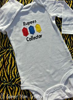 Zelda Rupee appliqued onesie or shirt by GamerMomCreations on Etsy, $16.20