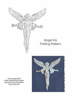 Angel Iris Folding Pattern on Craftsuprint designed by Carol Lepard - This Iris Folding pattern is of an elegant, flying Angel. - Now available for download!