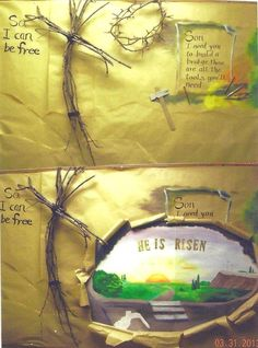 "During Lent, I used the top half of this picture for the bulletin board, which I had hidden behind the brown paper a poster board that I painted of the empty tomb.  Before Easter services, I tore open the brown paper to reveal  ""He is Risen"""