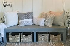 8 boards... $25 in lumber... DIY farmhouse bench!  This would be so cute an any room!  Fun weekend project friends!  Free plans and video tutorial are on our site!  Link to video is in our profile! ❤️ All the cute pillows, baskets and rug are from @athomestores #diy #furniture