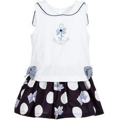 Lapin House Girls White & Blue Sailor Dress at Childrensalon.com