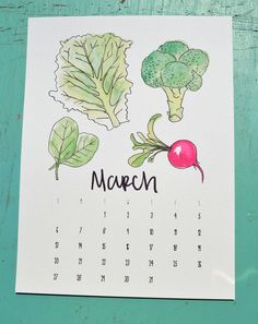 This calendar features my original watercolor illustrations of seasonal fruits and vegetables by month. The calendar measures 9 in x 12 in and comes