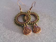 Spring Beaded Copper Earrings in Lavender and Olive (Customer Design) - Lima Beads