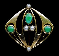 This is not contemporary - image from a gallery of vintage and/or antique objects. MURRLE BENNETT & CO Jugendstil Brooch Gold Turquoise Pearl