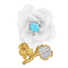 Turquoise and porcelain brooch with diamonds by David Webb