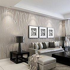 Tapeten Fürs Wohnzimmer | Modernen Minimalistischen Wand Papier Wallcovering Streifen Glitter