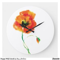 Shop Poppy Wall clock created by Buy_ArtDuo. Red Poppies, Red Flowers, Kitchen Collection, Romantic Love, Little Red, Hand Coloring, Poppy, Clock, Wall Art