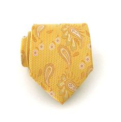 Necktie Gold Yellow Paisley Silk Tie by TieObsessed on Etsy, $19.95