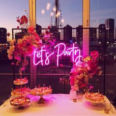 * Let's Party * Neon Sign Hire Melbourne Brisbane Sydney Perth Adelaide 21st Bday Ideas, 21st Birthday Decorations, 18th Birthday Party, Girl Birthday, Birthday Centerpieces, Graduation Ideas, Birthday Ideas, Birthday Cake, Gouts Et Couleurs
