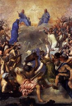 TIZIANO Vecellio (b. 1490, Pieve di Cadore, d. 1576, Venezia)   Click! The Trinity in Glory  c. 1552-54 Oil on canvas, 346 x 240 cm Museo del Prado, Madrid  Emperor Charles V described the painting in a codicil to his will, in which he ordered that a high altar should be erected containing this painting, as the Last Judgment. It depicts Charles V and members of his family together with angels and biblical figures worshipping the Holy Trinity. Charles V, his wife Isabella of Portugal and…