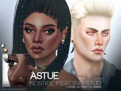 Nose piercing for the left or right side, 5 colors. All genders. Wear them on their own, or both together. You can combine them with our other piercings aswell. Found in TSR Category 'Sims 4...