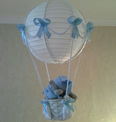 Hot Air Balloon light lamp  shade with TATTY TEDDY for baby Boy ♥ Made To Order
