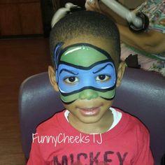 Face painting by FunnyCheeksTJ for a Happy Birthday party - TMNT Teenage Mutant Ninja Turtles