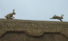corn dolly on thatched roof - Google Search Straw hares. brianmizonthatching.co.uk
