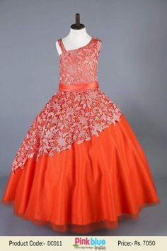 Ball Gown Orange Tulle Long Flower Girls Dresses for Kids | Princess Evening Prom Dress | Designer Kids Clothing Collection 2016