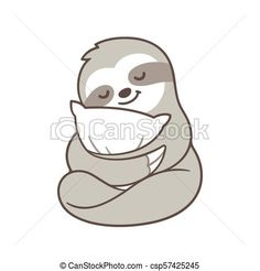 Image result for cute baby sloth illustration Cute Baby Sloths, Cute Sloth, Sloth Drawing, Animals And Pets, Cute Animals, Sloth Bear, Felt Toys, Painted Rocks, Cute Babies