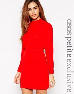 0434e8c6a5836 ASOS PETITE Mini Dress with High Neck at asos.com