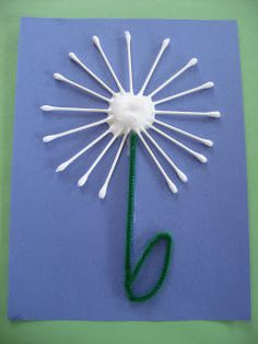 Q-tip flower craft. All you need is construction paper, glue, green pipe cleaner, cotton ball and q-tips.