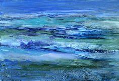Blue abstrakte Malerei, Wachs, Enkaustik,Impressionistisch,Struktur,Jahreszeit,Abstrakt,Stilistisch,Modern,Kristallin,Verträumt,Fantasie,Zeitgenössisch,Experimentell,Mischtechnik,ClaudiaGründler,Hintergrund,Ambiente, Kunstdruck, Wasser