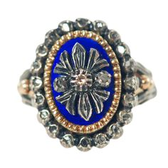 Antique Rose Cut Diamond & Enamel Ring