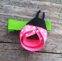 Pink Ladybug Ribbon Sculpture Hair Clip - Love Bug Hair Bow... Free Shipping Promo. $3.50, via Etsy.