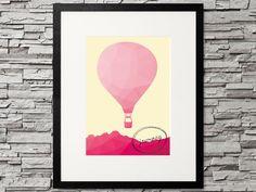 Heißluftballon im Dreieck Stil - Bild zum Thema Reise, Urlaub, Weltreise oder einfach zum Träumen  Journey Balloon, travel, vacation, holiday, tourist Design Poster, Printable Designs, Hipster Fashion, Diy, Journey, Vintage, Trending Outfits, Unique Jewelry, Frame