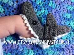 Crocheted Infant Baby Shark Socks MADE TO ORDER by stacie71