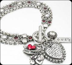Love Jewelry, Heart Jewelry, Love Bracelet, Love Quote, Love Charm Bracelet, Heart Bracelet, Valentine Jewelry, Red and White Jewelry