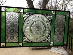 Stained Glass Window Panel with Vintage Green Sandwich Plate