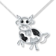 Diamond Cow Necklace 1/20 ct tw Black/White Sterling Silver