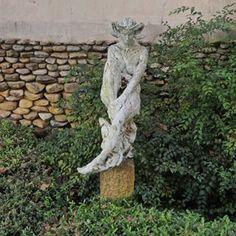 Ram horned female figure, bronze with a white patina. Sculpture Garden, Bronze Sculpture, Female, Outdoor Decor, Instagram
