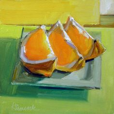 Gretchen Hancock - Orange+Slices+green+plate+leaning right.jpg (397×397)