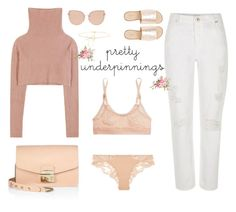 """""""The Prettiest Underpinnings!"""" by marialibra ❤ liked on Polyvore featuring Lilou, Valentino, Furla, River Island, L.E.N.Y., La Perla, STELLA McCARTNEY and Topshop"""