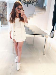 look all white tênis nike blazer branco saia assimétrica