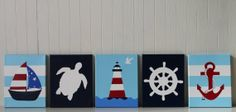 Nautical Nursery Decor Nautical Painting Light Blue Red Navy Nursery Anchor Sailboat Nursery Lighthouse Sea Turtle Nursery Ship's Wheel