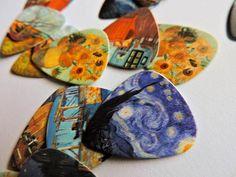 Check out these Van Gogh inspired picks - Van Gogh Plectrum - Best Art Projects 🎨 Vincent Van Gogh, Ukulele Art, Guitar Art, Guitar Songs, Arte Van Gogh, Van Gogh Art, Art Hoe Aesthetic, Unique Guitars, Guitar Painting