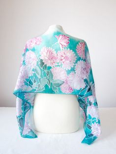 Silk scarf Chrysanthemum pink and turquoise scarf от MinkuLUL