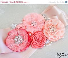 SALE 15 Bridal sash  Blush Wedding Sash Coral Peach by VioGemini, $187.00