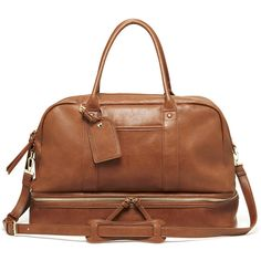 Sole Society Mason Vegan Travel Satchel ($80) ❤ liked on Polyvore featuring bags, luggage and cognac