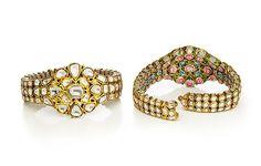 Pair of Bracelets Object Name: Bracelets Date: 1800–25 Geography: India, Varanasi Medium: Gold, set with diamonds, enamel on reverse