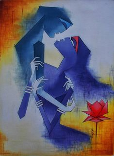 Buy Amativeness artwork number a famous painting by an Indian Artist Amar Singha. Indian Art Ideas offer contemporary and modern art at reasonable price. Indian Paintings On Canvas, Modern Art Paintings, Canvas Art, Canvas Size, Wall Paintings, Oil On Canvas, Watercolor Paintings, India Painting, Love Painting