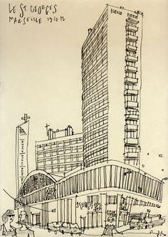 Philippe Doro : Marseille, le St Georges. Dessin au crayon.