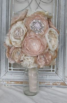 Bridal Brooch Bouquet , Wedding Bouquet,Rhinestone Bouquet,Fabric Flower Bouquet, Vintage bouquet, Champagne and Ivory, Shabby Chic Bouquet by BurlapandBlingStudio on Etsy https://www.etsy.com/listing/98780265/bridal-brooch-bouquet-wedding