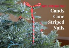 Simple Christmas Craft Candy Cane Striped Nail- the nail is a reminder of the reason Christ came to us: to die on the cross that we might be reconciled with God. The red stripe is a reminder of the blood He shed for us.