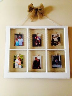 Window picture frame with chicken wire and tiny clothes pins!