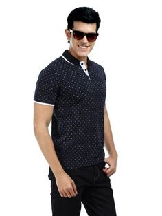 Voi Jeans Men Navy  White Printed Polo T-shirt | Myntra via @Myntra.com PRODUCT CODE: 126998  Rs. 1,199