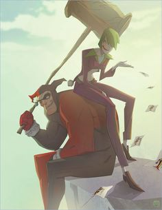 Rule Joker and Harley Quinn. Harley is represented as a hulking brute with a gigantic mallet, while the Joker is a lanky woman in a midriff top letting a handful of joker playing card scatter in the wind. Dc Comics, Comic Art, Comic Books, Gender Swap, Riddler, Gender Bender, Joker And Harley Quinn, Gotham City, Anime
