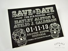 Bold Sugar Skull Wedding Save the Dates - Day of the Dead / Dia de los muertos theme - Black or any color - made to order by citlalicreativo.com and ship to you!