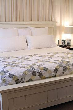 how to make a bed - love the idea of the headboard alone for guest room - source: http://www.bowerpowerblog.com/