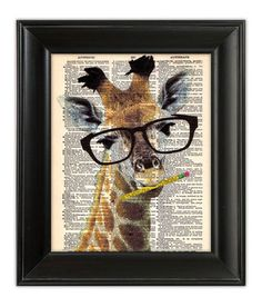 BRAINY GIRAFFE FUNNY ORIGINAL Art Print on Upcycled Dictionary Antique Book Page